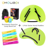 OMOUBOI Body Shaping Equipments Ajustable Silicone String Green Plastic Swim Exercise Hand Web Paddles Fins W/Fitness Loop Bands
