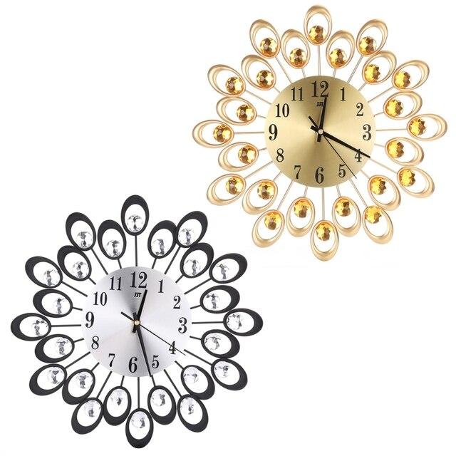 Moderne Metall Wanduhr Diamant Strass Eisen Kunst Stille Home Office Decor Wand Dekoration Uhr Fur Wohnzimmer