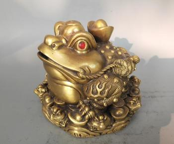 China exquisite crafts the gold toad wealth Brass Statue