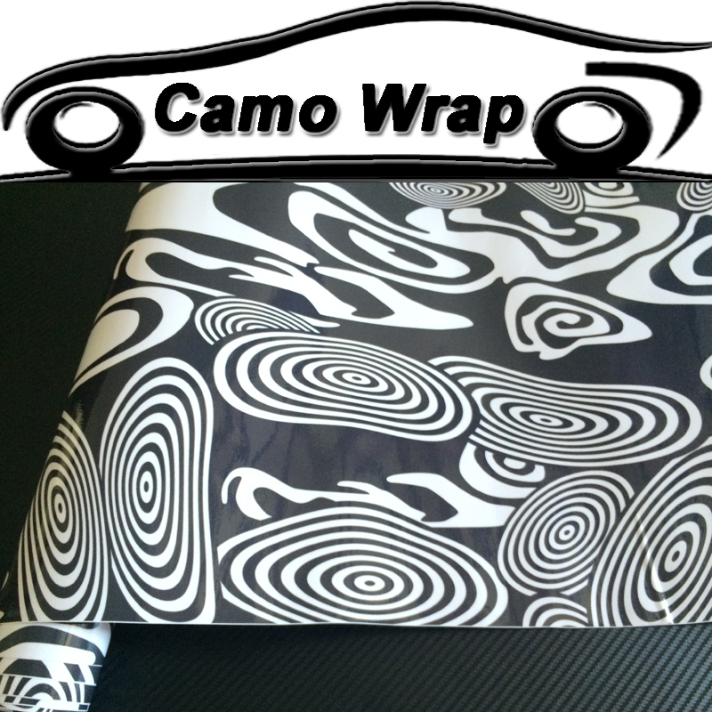 10/20/30/40/50/58x152cm Black White Annual Ring Camouflage Vinyl Wrap Sticker Film Motorcycle Truck Car Styling Camo Wrapping