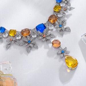 Image 5 - Viennois luxo conjunto de jóias flor design multicolorido cristais colar e brincos conjunto de jóias para mulheres conjunto de jóias de noiva