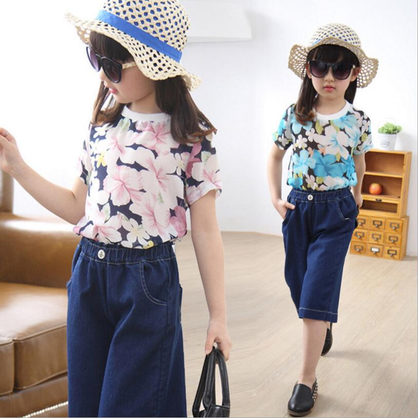 kids clothes new summer girls suits 2pcs short sleeve floral print t shirt+knee-length denim wide leg pants girl sets kids girls summer 2014 new o neck short sleeve floral sports suits fashion print cartoon clothing sets t shirts and pants h2691
