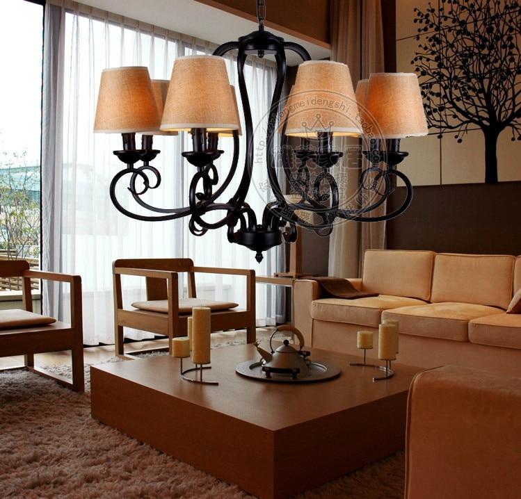 Eisen Lampe ̿̿̿(•̪ )amerikanischen stil wohnzimmer pendelleuchte vintage leinen