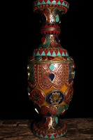 Christmas decoration home Art collection Tibet Metal vase crafts Beeswax eight treasures vase