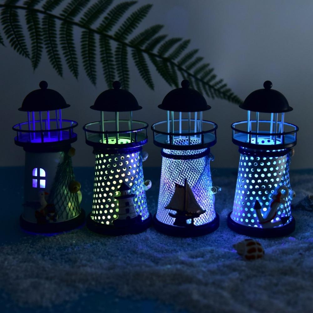 1PCS Metal Vintage LED Light Openwork Ocean Lighthouse Anchor For Home Room House Wedding Decor  High Quality