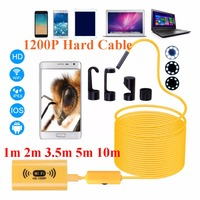 1200P HD Adjustable 8 LEDs WiFi Endoscope Camera 8 0mm IP68 Hard Cable 1M 2M 3