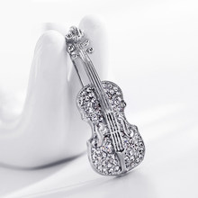LNRRABC Fashion Women pins Personality brooches Crystal Rhinestones Violin Brooches Pin Jewelry Accessories brooch(China)