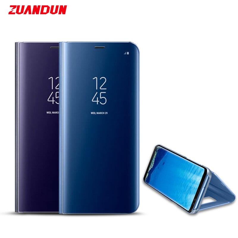 ZUANDUN Miroir Intelligent Clear View Flip Cas Pour Samsung Galaxy Note 8 S8 S7 Bord A3 A5 A7 2017 Stand En Cuir Téléphone Housse