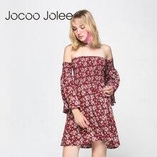 Jocoo Jolee Women Floral Print Dress Slash Neck Flare Sleeve Beach Dress Empire Off-Shoulder Dress Sexy Party Mini Dresses