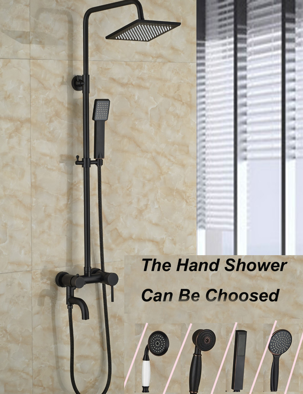 Wholesale And Retail Oil Rubbed Bronze Wall Mounted Square Rain Shower Head Faucet Tub Spout W/ Hand Shower Sprayer