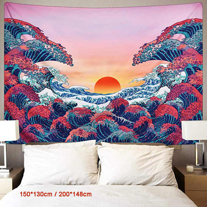 Enipate Sunset Wall Tapestry Ocean Wave Wall Hanging Tapestry Japanese Tapestry for Living Room Bedroom Home Decor