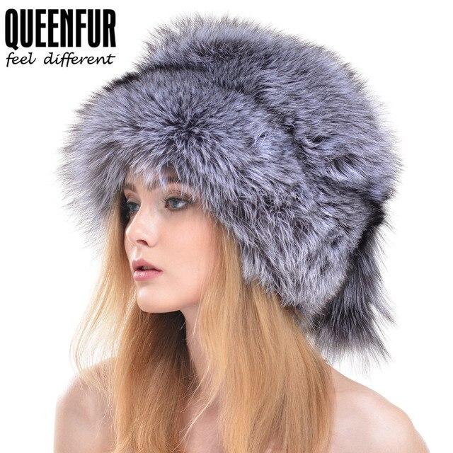2f422edb60a QUEENFUR Women Beanies Whole Knitted Fox Fur Hat With Tail 2017 Fashion  Winter Warm Big Skullies Caps Brown Raccoon Fur Hats