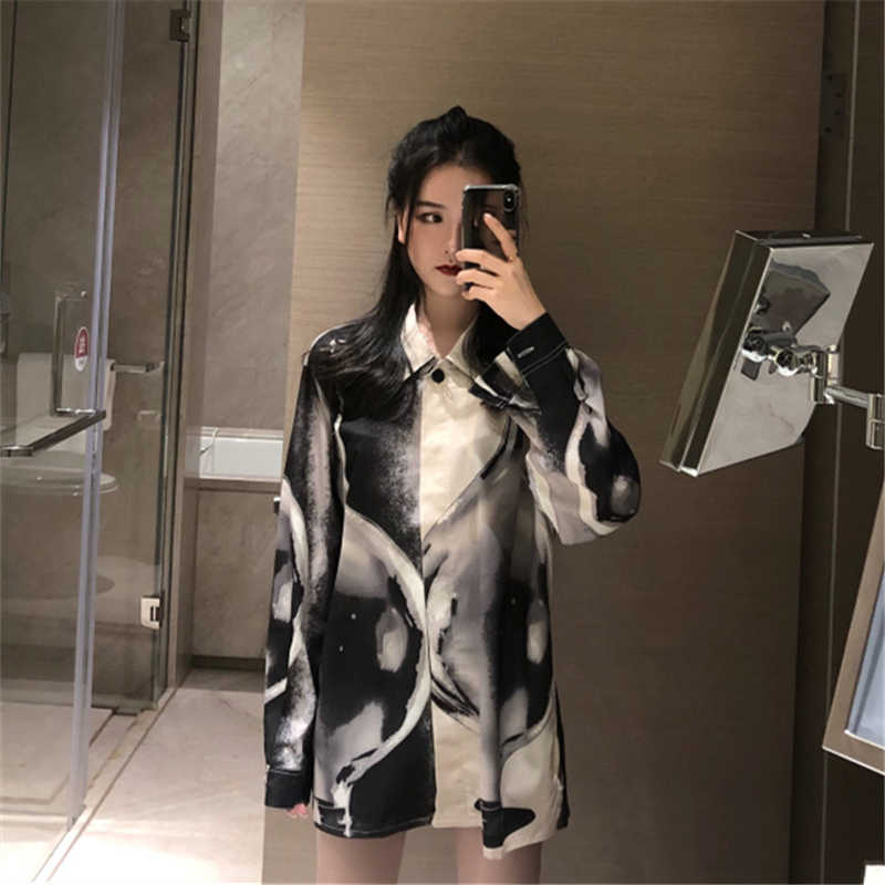 4a295e82 Women's Clothing Autumn New Chic ulzzang Turn-down Collar long Sleeve  Ladies Blouses loose Vintage