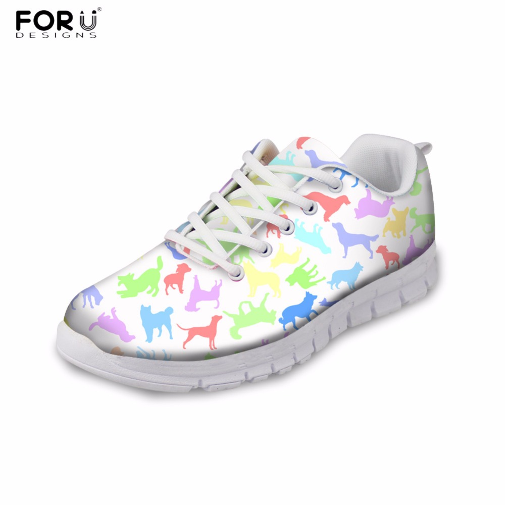 FORUDESIGNS Vintage Women Flat Shoes 3D Animal Dog Pattern Women's Leisure Breathable Shoes Casual Sneakers for Female Flats forudesigns cute animal dog cat printing air mesh flat shoes for women ladies summer casual light denim shoes female girls flats