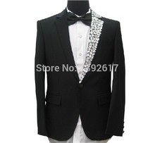 Free ship mens tuxedo suit black luxury single side rhinestone collar decoration, jacket