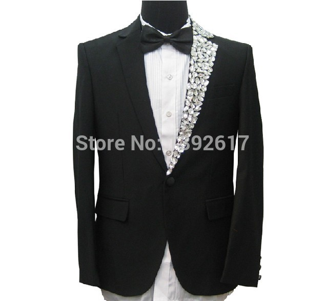 Free ship font b mens b font tuxedo suit black luxury single side rhinestone collar decoration