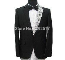 Free ship mens tuxedo suit black luxury single side rhinestone collar decoration, jacket