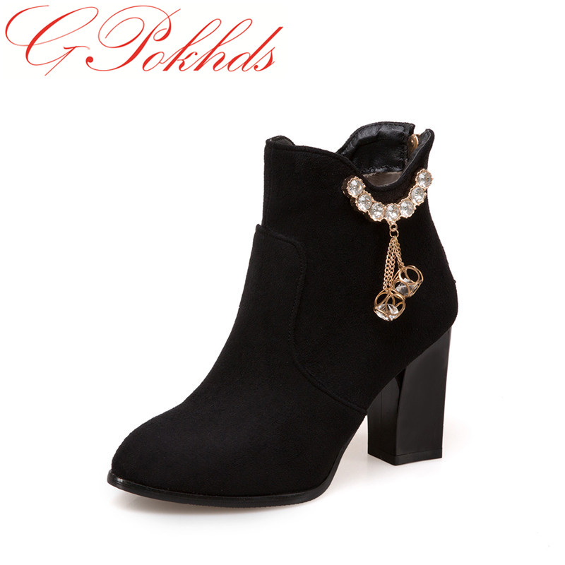 GPokhds Big size 33-45 high quality hot sale 2017 new style women  buckle strap crystal autumn spring high heels ankle boots hot sale big size 32 44 fashion spring autumn women shoes sexy solid pu leather platform ankle strap high heels augz 958