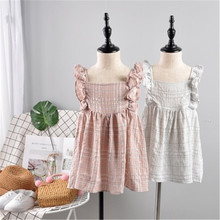 7ec9323e5 Hurave Casual ruffles sleeve Kids Clothes New baby Girl plaid clothes  Summer sleeveless Frill dress cotton