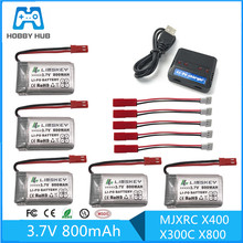 5pcs RC Drone Lipo Battery JST 902540 3.7V 800mAh Lipo 1S Battery With USB Charger Set For MJX x400 X300C X800 Quadcopter Parts(China)