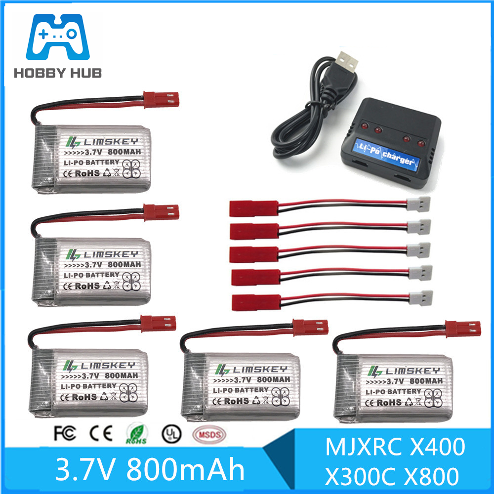 5pcs RC Drone Lipo Battery JST 902540 3.7V 800mAh Lipo 1S Battery With USB Charger Set For MJX x400 X300C X800 Quadcopter Parts image