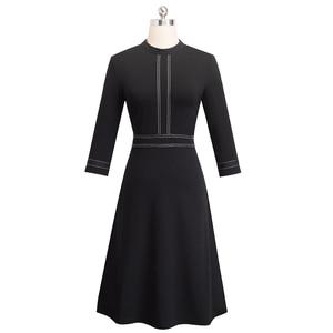 Image 2 - Платье Nice forever A135 женское винтажное с круглым воротником