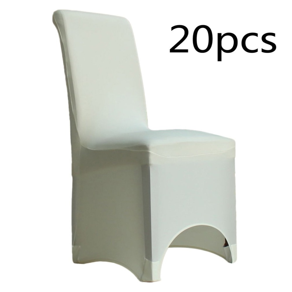 10pcs/20pcs Ivory White Arched Fronted Elastic Spandex Chair Cover For Dining Wedding Banquet Anniversary Party Decoration