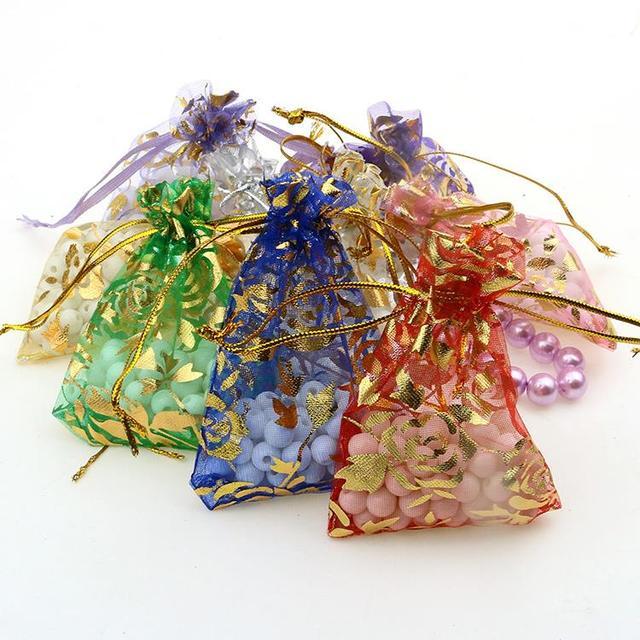 100pc/lot 13x18cm Mixed Color Christmas /Wedding Drawable Organza  Gift Packaging Bags & Pouches  Bolsas Regalo  Saco De Tule