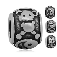Skyrim Cartoon Stainless Steel Twelve Chinese Zodiac Sign Mouse Fit For Pandora Bracelet Dangle Beads Jewelry 20Pcs/lot
