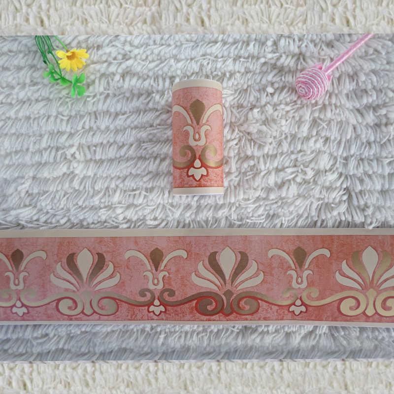 1 rollo 0,1x10 m pegatinas de flores Retro línea de cintura pared pegatina papel pintado cocina baño borde base impermeable decoración