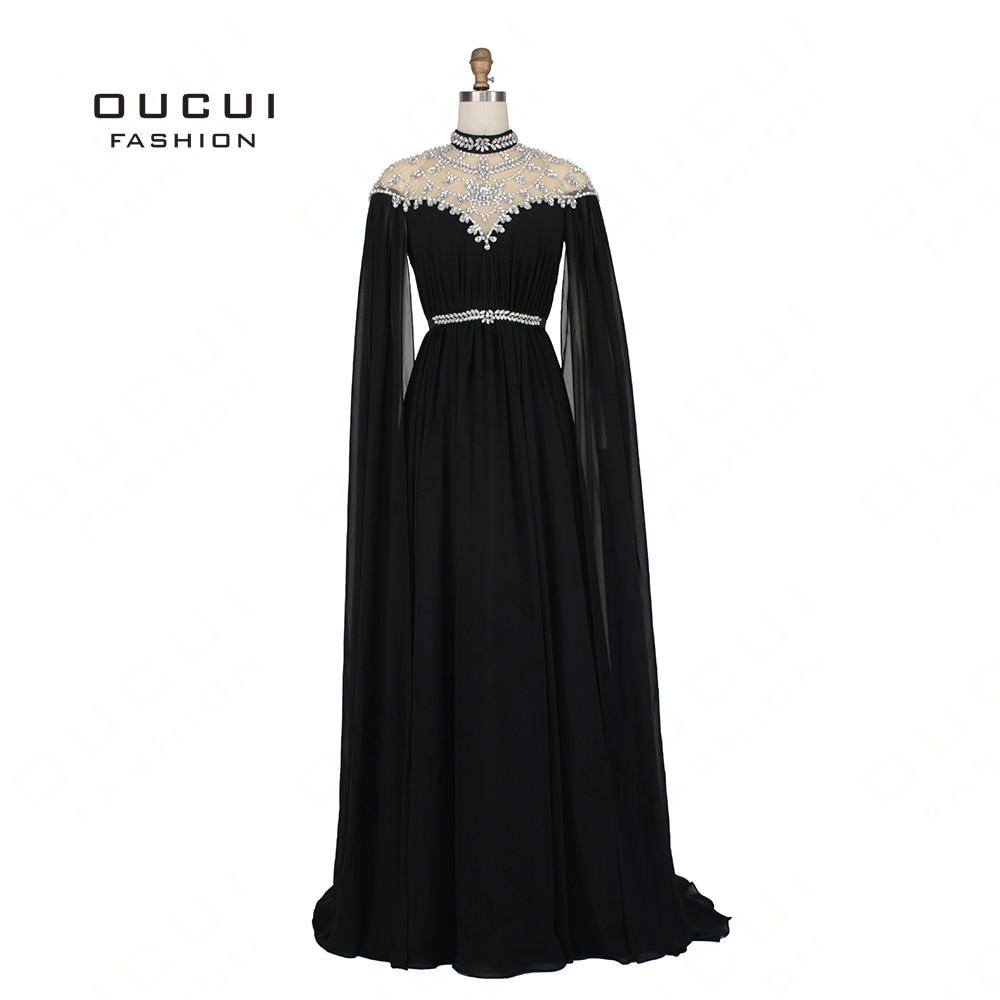 Kaftan Abiye Black 2019 Evening Dresses Long Sleeves Cap Beading Crystal Chiffon Formal Dress Women Elegant