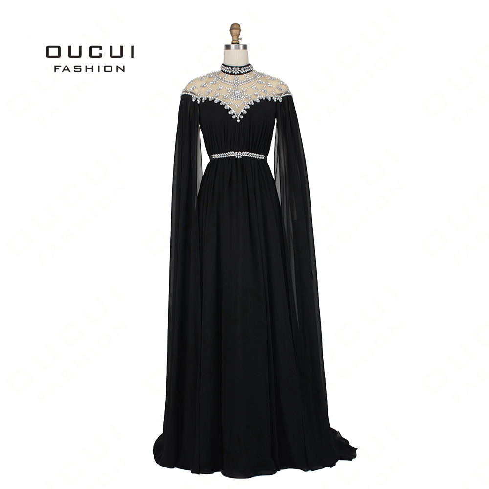 Kaftan Abiye Black 2019   Evening     Dresses   Long Sleeves Cap Beading Crystal Chiffon Formal   Dress   Women Elegant Vestido OL103163