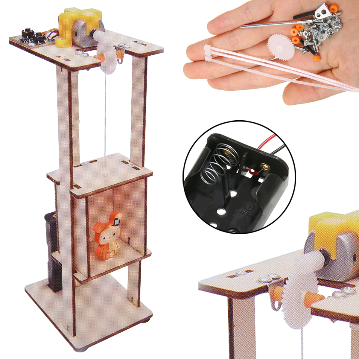 Wood Assemble DIY Electric Lift Kids Gifts Science Toys Experiment Material Kits Tool Elevator Assemble Kit For Education