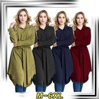העבאיה Jubah גלימה בסגנון Loose טוניקת חולצה ארוכת נשים מוסלמיות הרמדאן a594 6XL בתוספת גודל בגדים אסלאמיים תורכי ערבי