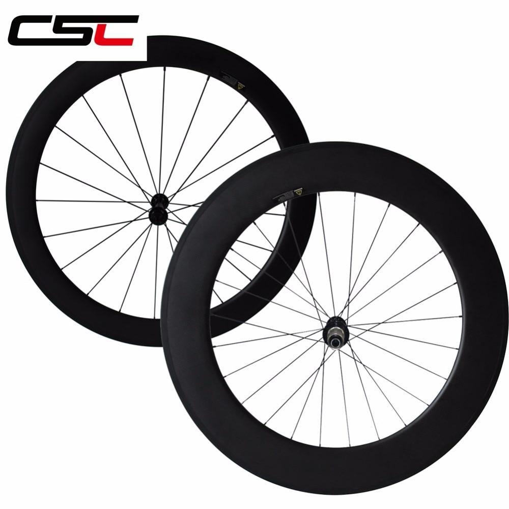 CSC 700C Ultra Light carbon wheels 24mm clincher front carbon bike road wheels
