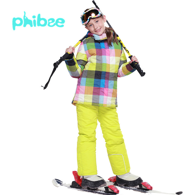 Prix pour Automne Hiver Enfants sports de Plein Air Ski Snowboard Thermique Costume Veste + Pantalon Filles Rembourré Coupe-Vent Imperméable Camping Manteau