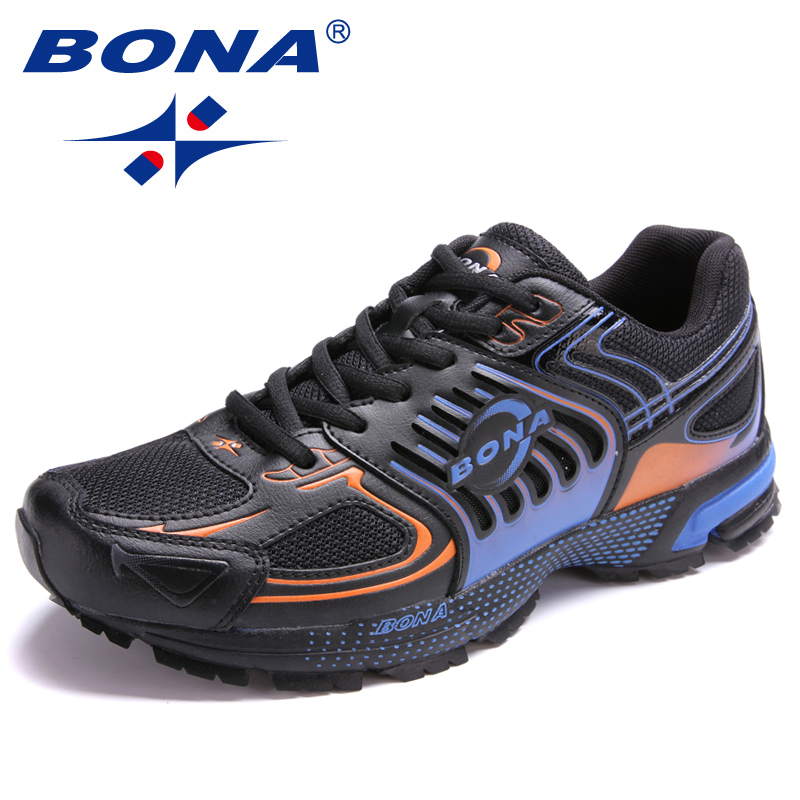 BONA New Arrival Popular Style Men Running Shoes Outdoor Jogging Sneakers Lace Up Male Athletic Shoes Comfortable Sport Shoes bona new designer popular style men tenis shoes leather outdoor jogging shoes athletic shoes lace up trendy sneakers shoes