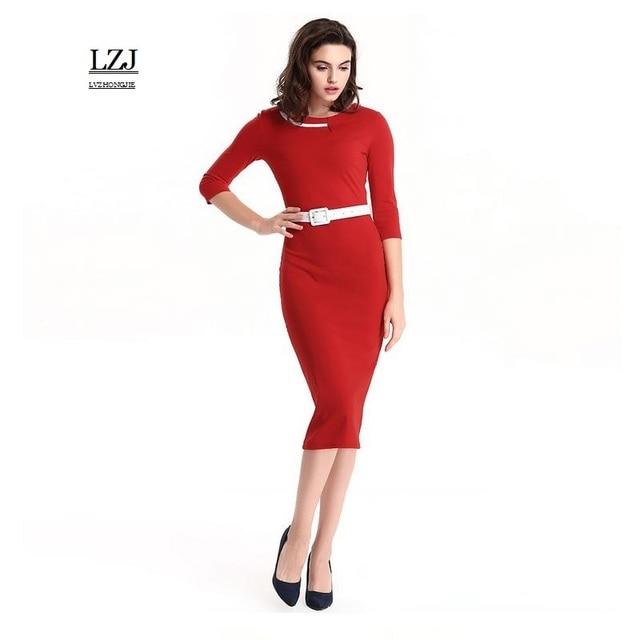 LZJ new ladies summer retro dress vestidos stitching O collar seven points  sleeves belt dress professional women pencil dress L3 0758287ce887