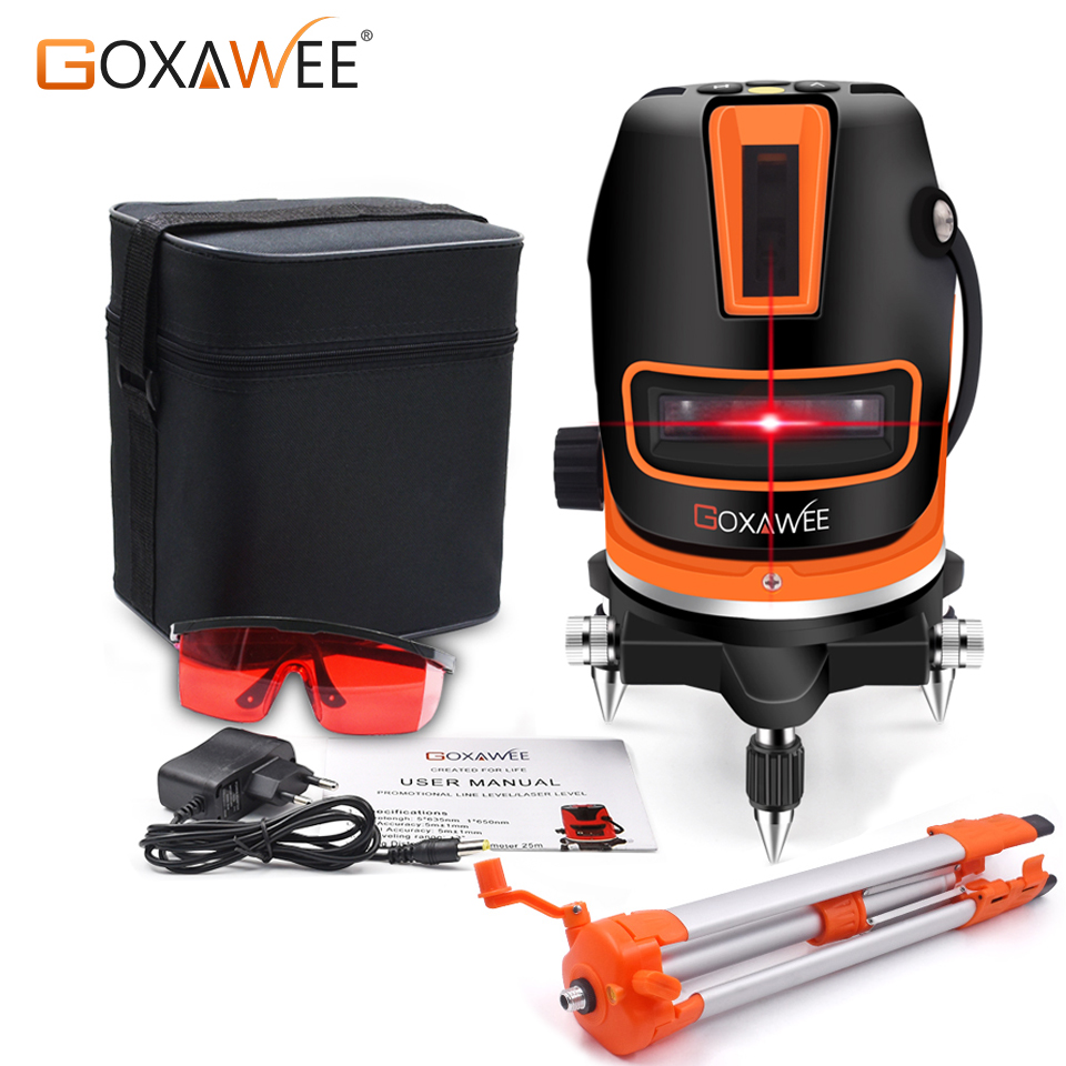 GOXAWEE Laser Level 5 Lines 6 Points Self Leveling 360 Automatic Horizontal Vertical Lines With 5