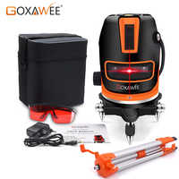 GOXAWEE Laser Level 5 Lines 6 Points Self Leveling 360 Automatic Horizontal Vertical Lines With 5/8
