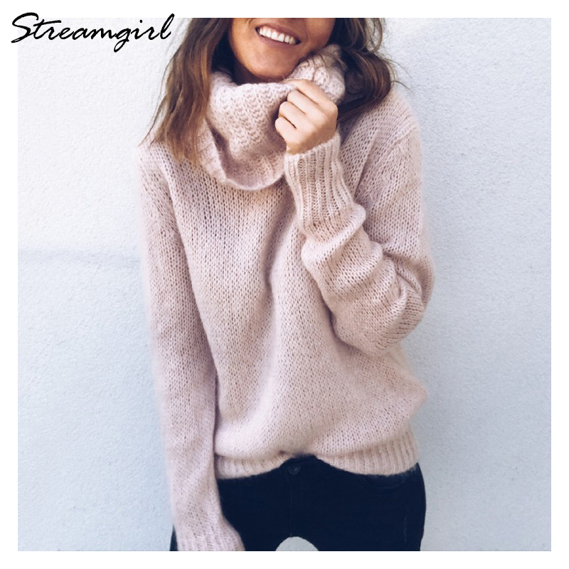 Red Turtleneck Women Sweater Autumn Warm Pink Turtle Neck Sweater Womens Sweaters 2018 Winter Knitted Pullover Jumpers Ladies