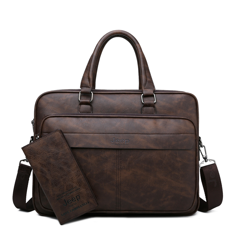 Image 5 - JEEP BULUO Famous Brand Men Briefcase Bag High Quality Business  office Work Leather Shoulder Bags Travel Handbag 14 inch  LaptopBriefcases