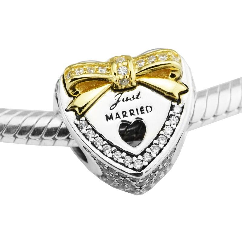 Sterling-Argent-Bijoux Perles Pour Fabrication de bijoux DIY Convient pour Pandora Bracelets BeRloque De Mariage Coeur Or Charmes Perlas kraLen