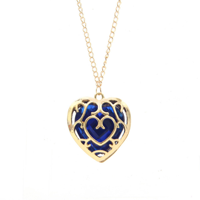 Zelda Heart Container Necklace: Hollow Out Blue Heart Container Necklace Gold Chain Women
