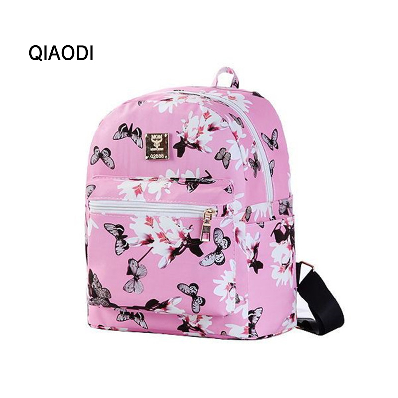 QIAODI Brand Women Butterfly flowers PU Leather Backpack Leisure printing Preppy School backpacks travel bags for girls