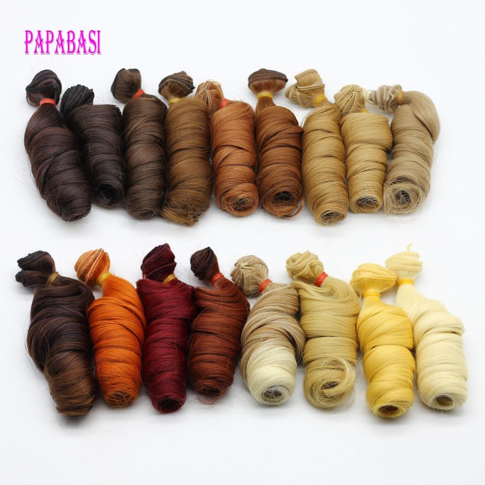 1 unid 15 * 100 cm bricolaje peluca rizada para bjd muñeca diy - Muñecas y accesorios