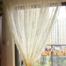 American custom retro Korea lace gauze wavy Embroidery Custom bedroom living room tulle sheer curtain