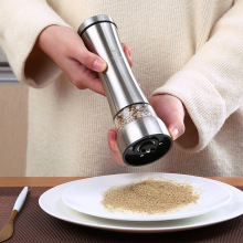 BEEMSK 1PCS Stainless steel pepper grinder manual ceramic core black  mills grinding bottle cruet