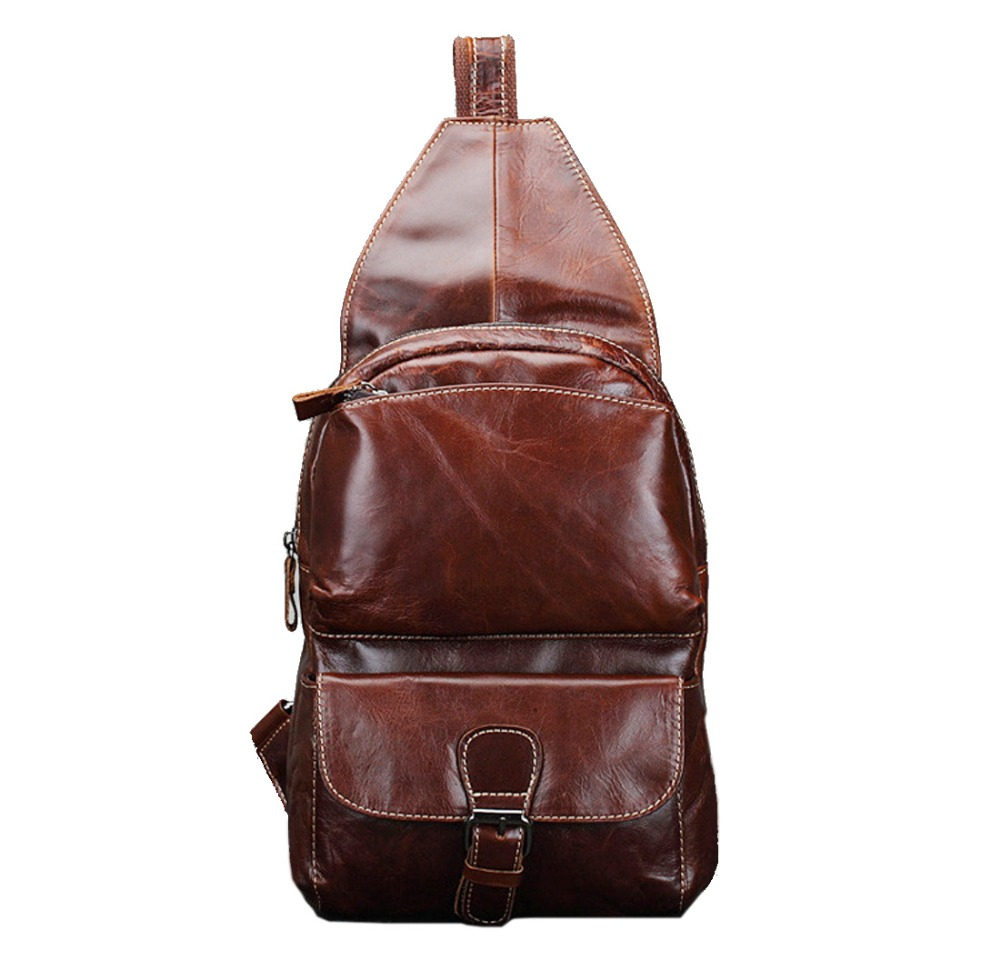 New Men Genuine leather First Layer Cowhide  Sling Day Pack Chest Bag Travel Belt Cross Body Messenger Shoulder Bags цена и фото