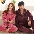 Couple Thickened Warm Pajamas Sets Lovers Pijamas Suit Adult Long Sleeved Loungewear Hombre Tops And Pants